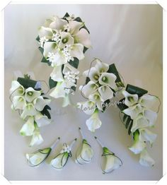 three mini white calla lillly bouquet | ... white calla lilies e f shower bouquets with roses and lilies