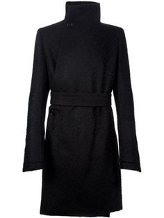 AUTH NWT RICK OWENS BLACK LIMO LINER ASYMMETRIC WOOL MOHAIR COAT IT50 US40