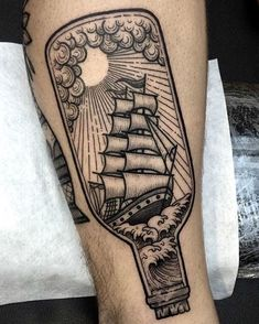 Digging this #ship in a #bottle #tattoo by @nhatbe who creates really creative and clean work! Be sure to check out NHATBE's awesome page. Viva la Creativity!