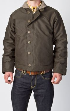 Pike Bothers 1944 N1 Deck Jacket in Waxed Olive $375 - cultizm.com