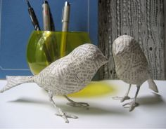 paper mache birds - no tutorial, just this pic.  Maybe I could make these?
