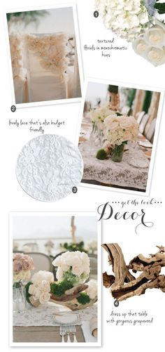 the look for less ~ ideas to recreate the GORGEOUS wedding on SMP from Elizabeth Messina ~ for a lot less. Love, love, love the grapewood deco.
