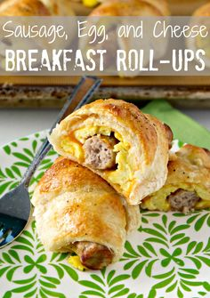 Sausage, Egg and Cheese Breakfast Roll-Ups 5 eggs  1 can (8 oz) Pillsbury™ refrigerated crescent dinner rolls 8 fully cooked breakfast sausage links 4 slices (sandwich-size) Cheddar cheese Salt and pepper to taste