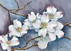 Tree Painting - Legend Of The Dogwood by Marsha Elliott Dogwood Trees, Dogwood Flowers, Watercolor Flowers, Watercolor Paintings, Tree Paintings, Painting Flowers, Dogwood Flower Tattoos, Watercolor Projects, Framed Art Prints