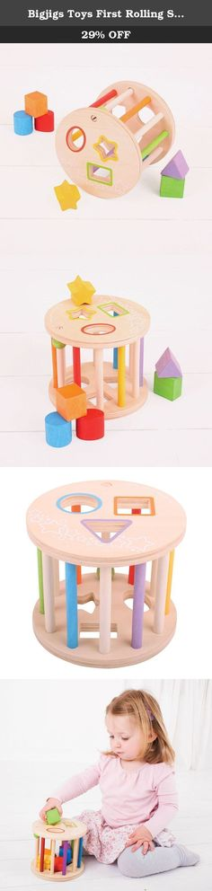 Bigjigs Toys First Rolling Shape Sorter. Slot the brightly colored wooden shapes through the correct slot on the top of this Rolling Shape Sorter. Once full, the Shape Sorter can be rolled along to hear all of the shapes rattle around inside! Features a spoke that slides open for easy access to the shapes. Helps to develop dexterity and co-ordination. Made from high quality, responsibly sourced materials. Conforms to current ASTM safety standards. Age 1+ years. Height: 125mm, Diameter:...