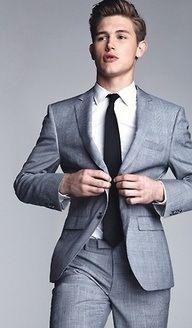 Mens Suit-gray, black, white