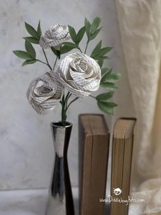 Three Book Page Rose and Crepe Paper Greenery Gift Bouquet Paper Flowers Diy, Flower Crafts, Fabric Flowers, Gift Bouquet, Flower Bouquet Wedding, Contact Paper Crafts, Paper Crafting, Book Page Roses, Flower Arrangements Simple