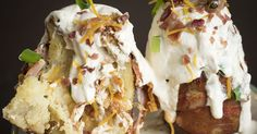Loaded Bacon Potato Volcanoes {this has many combo possibilities... Veg and gravy filling with whipped potato topping for a single serve... No crust shepards pie for one... now run with the possibilities  😊 Disabledironchef mjb}