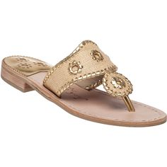 9c73c46abbb43 JACK ROGERS Jacksraffia Gold Fabric Flip Flop ( 118) ❤ liked on Polyvore  featuring shoes