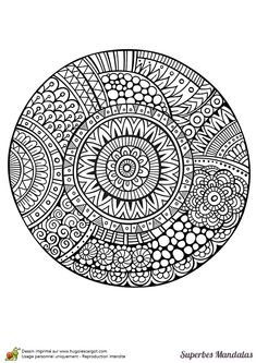 Coloriage d'un superbe mandala circulaire avec beaucoup de détails - Hugolescargot.com Mandala Coloring Pages, Colouring Pages, Adult Coloring Pages, Coloring Sheets, Coloring Books, Seashell Painting, Dot Painting, Mandala Drawing, Mandala Art