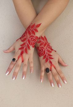 Red Love.... Red lace gloves  Wedding gloves free by WEDDINGGloves, $28.00