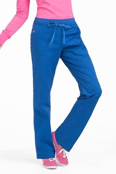 Freedom Pant - Royal with Passion Pink Med Couture Scrubs, Stylish Scrubs, Pajama Pants, Sweatpants, Clothes, Freedom, Contrast, Pockets, Logo