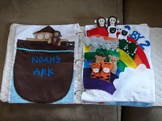 Quiet Book.  Adorable Noah's Ark page, also a tithing page.  Love the mail/message page too.  Cute!