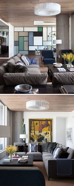 This modern living room has the furniture positioned to take advantage of the views, while the wood ceiling and floor add a sense of warmth to the apartment. #ApartmentDesign #LivingRoom #WoodCeiling