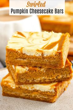 These amazing Swirled Pumpkin Cheesecake Bars have a buttery graham cracker crus., amazing Swirled Pumpkin Cheesecake Bars have a buttery graham cracker crust, spiced pumpkin pie filling and a sweet, thick cheesecake swirled th. Pumpkin Sheet Cake, Pumpkin Pie Mix, Pumpkin Bars, Baked Pumpkin, Pumpkin Dessert, Spiced Pumpkin, Pumpkin Spice Coffee, Pumpkin Carving, Pumpkin Squares
