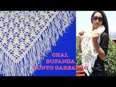 Chal Bufanda tejido a crochet o ganchillo en puntos garbanzos o punto puff paso a paso - YouTube