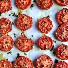 Slow Roasted Tomatoes with Thyme - Pinchandswirl.com - Found through Stetson's Valentine's Day Board