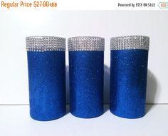 ON SALE 3 glitter vases bling vases blue by EverydayDesignEvents