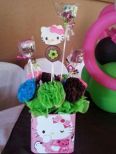 Centros de mesa con golosinas Hello Kitty