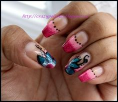 Crazy Polishes: NOTD: Flowery Ombre French Nail Art: http://crazypolishes.blogspot.in/2012/07/notd-flowery-ombre-french-nail-art.html