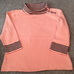 Designers Originals size petite med. Beautiful knit top in peach with black trim petite med. 80% cotton 20 % nylon . Cowl neck. 3/4 sleeve Designers Originals Tops Blouses