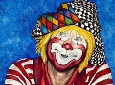Watercolor Clown #16 Ron Maslanka AKA Same the Clown9 X 12 on Canson 140 lb Cold pressed paper Original Pending Sale