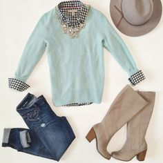 Mint sweater, plaid top, jeans, taupe boots, silver jewelry