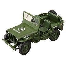 U-Mest® Willys WWII Tactical Jeep 1/18 Die Cast Military US Army Model Car Green