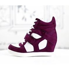 Trendy Ideas For Womens Sneakers : basket femme montante compensees violet blanc high top sneakers fashion mode 201 Cute Sneakers, Cute Shoes, Me Too Shoes, High Top Sneakers, Nike Wedge Sneakers, Wedge Boots, Shoe Boots, Sneakers Fashion, Fashion Shoes