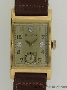 Heavy 14k Gold Bulova Mens Diamond Vintage Art Deco Wrist Watch