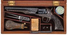 Cased Engraved Colt Model 1862 Police Percussion Revolver with Accessories.