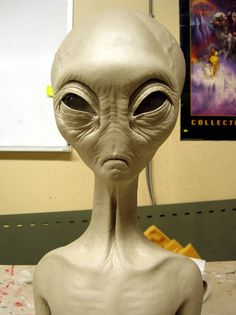 """We make foam props for the film industry...one of our sculptors believes he has been visited by Aliens since he was very young....here is a model of a grey he made."""