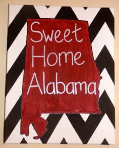 11x14 Sweet Home Alabama Chevron Canvas Painting by Shop2415, $17.00