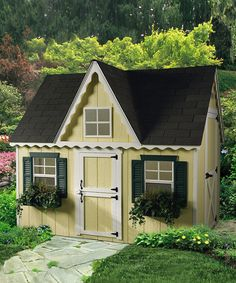 Amish-handcrafted and American-made, this expertly designed modular kit includes a preassembled floor, wall and roof rafters. It features sliding safety glass windows with screens, flower boxes and even a door tall enough for adults, resulting in a playhouse that will last generations.