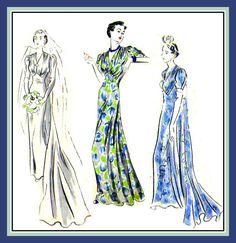 Vintage 1930s-Stunning Evening Gown-Wedding Dress Vogue Sewing-Pattern-Shaped & Built Up Waist-V Neckline-Cathedral Train-Size 18-Mega Rare