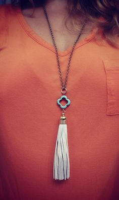 Long Summer White Leather Tassel Necklace   by BohemianWhimSea, $36.00