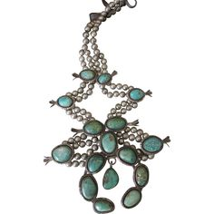 Vintage Navajo Signed Sterling Silver Cerrillos Turquoise Squash Blossom Necklace -- found at www.rubylane.com @rubylanecom #VintageBeginsHere