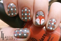 fox face nail art and gray orange and white polka dot manicure