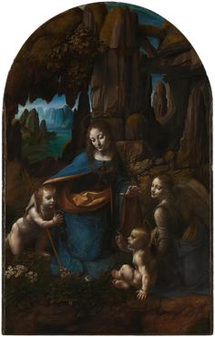 The Virgin of the Rocks by Leonardo da Vinci  Completion Date: c.1505  Place of Creation: Florence, Italy  Technique: oil on panel. Both paintings show the Madonna and Christ Child with the infant John the Baptist and an angel. The legend stated that when King Herod ordered the Massacre of the Innocents, the Holy Family fled to Egypt and on their way met Saint John, who also escaped the massacre.