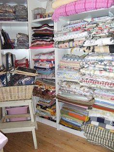 craft room, fabric storage