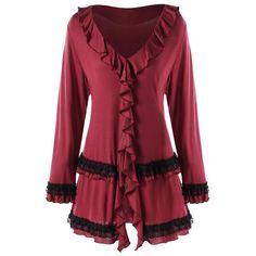 Women s Fashion Ruffle Lace Tunic LS V-Neck Top XL-5XL Punk Fashion 6b3044300291