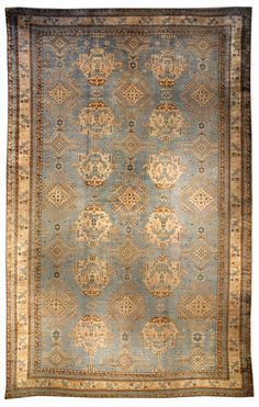 "A Turkish Oushak rug BB3549 - by Doris Leslie Blau.  An early 20th century Turkish Oushak (Ushak) rug, the abrashed light blue field with an overall ""Smyrna"" design ..."