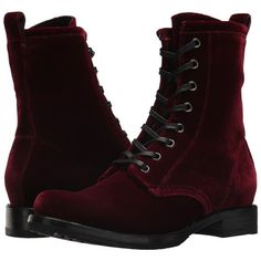 Frye Veronica Combat (Wine Velvet) Women's Lace-up Boots ($278) ❤ liked on Polyvore featuring shoes, boots, ankle boots, military boots, ankle combat boots, short boots and laced up boots