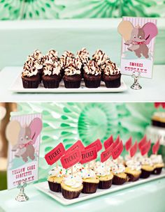 Super cute details in this Girly Dumbo Circus First Birthday Party! #first #birthday #dumbo #circus #party #mint #pink #cupcakes