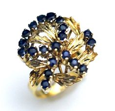VTG 14K YELLOW GOLD & 2 CT SAPPHIRE RIBBON LEAFS ESTATE COCKTAIL RING ~ STUNNING #Unbranded #Cluster #Birthday