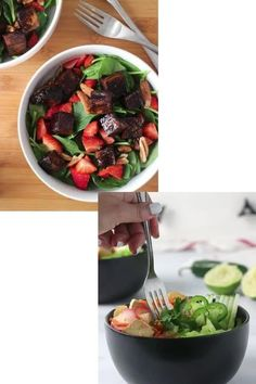 Do you think salad has to be boring? These flavor-packed, easy vegan salad recipes beg to differ! They're easy to make and will have you reaching for seconds.  #salad #vegan #salads #greensalad #grainsalad #quinoasalad Healthy Crockpot Recipes, Vegan Breakfast Recipes, Delicious Vegan Recipes, Crunchy Broccoli Salad, Broccoli Salad With Cranberries, Steamed Sweet Potato, Herb Roasted Potatoes, Grain Salad, Spinach Strawberry Salad