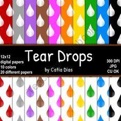 Tear Drops - 20 Digital Papers from Always a Teacher & Forever a Mom - Clipart on TeachersNotebook.com (20 pages)