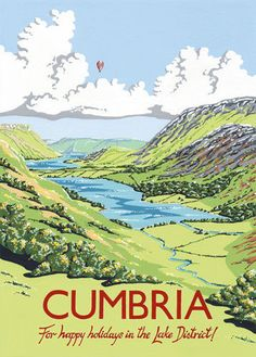 Vintage Travel Poster - Buttermere Lake - Lake District - Cumbria - by Kelly Hall. Posters Uk, Railway Posters, Poster Ads, Poster Prints, Art Prints, Tourism Poster, Vintage Maps, Vintage Travel Posters, Vintage Ski