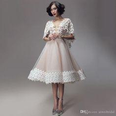 0b3e8b1e1e 2016 New Short Lace Prom Dresses With Wrap A Line See Through Back Pearls  Party Dress Gowns Vestido De Baile