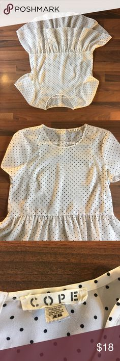/urban outfitters/ Cope. Peplum Polk a dot blouse Adorable peplum blouse with Polk a dots Urban Outfitters Tops Blouses
